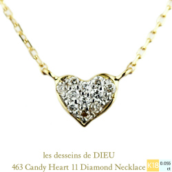レデッサンドゥデュー 463 キャンディ ハート ダイヤモンド ネックレス 18金,les desseins de DIEU Candy Heart Diamond Necklace K18