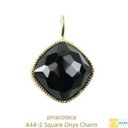 ピナコテーカ 444 スクエア クッションカット ブラック オニキス チャーム 18金,pinacoteca Square Onyx Charm K18
