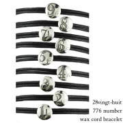 28vingt-huit 776 ナンバー 数字 紐ブレスレット ワックスコード ペア シルバー,ヴァンユィット Number Wax Cord Bracelet Silver Mens