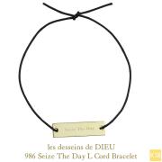 レデッサンドゥデュー 986 セイズザデイ 今を楽しもう 紐ブレスレット 18金,Dieu Seize The Day Cord Bracelet K18