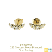 ピナコテーカ 222 ムーン ダイヤモンド スタッド ピアス 18金,pinacoteca Crescent Moon Diamond Stud Earrings K18