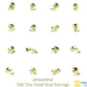 ピナコテーカ 346 タイニー イニシャル スタッド ピアス Z 18金,pinacoteca Tiny Initial Stud Earrings Z K18