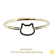 ピナコテーカ 732 猫 リング ピンキーリング 子猫 華奢 キャット フェイス 18金,pinacoteca Cat Face Silhouette Ring K18