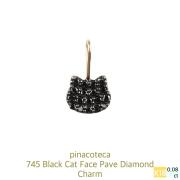 ピナコテーカ 745 黒猫 ブラック ダイヤモンド チャーム ねこ キャット 18金,pinacoteca Black Cat Face Pave Diamond Charm K18