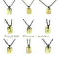 ヴァンユイット 355 ナンバー 数字 ネックレス 18金 シルバー メンズ,28vingt-huit Numero Number Necklace K18 Silver Mens