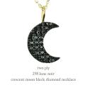 トゥー プライ 258 三日月 ブラック ダイヤモンド ネックレス 18金,two ply Crescent Moon Black Diamond Necklace K18