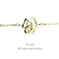 トゥー プライ 430 ローズ 薔薇 バラ 華奢ブレスレット 18金,two ply 430 Rosy Rose Bracelet K18