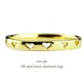トゥープライ 433 オープン ハート ダイヤモンド 華奢リング 18金,two ply Open Heart Diamond Ring K18