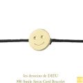 レデッサンドゥデュー 980 スマイル サテンコード 紐ブレスレット 18金,les desseins de DIEU Smile Satin Cord Bracelet K18