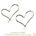 レデッサンドゥデュー 796 ハート フープピアス 18金,les desseins de DIEU Solid Gold Heart Hoop Earrings K18