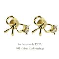 レデッサンドゥデュー 841 リボン スタッド ピアス 18金,les desseins de DIEU Ribbon Stud Earrings K18