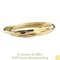 レデッサンドゥデュー 891H トリニティ 3本セット リング ツチメ 華奢リング 18金,les desseins de DIEU Trinity Hammered Ring K18