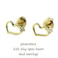 ピナコテーカ 252 タイニー オープン ハート スタッド ピアス 18金,pinacoteca Tiny Open Heart Stud Earrings K18