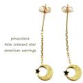 ピナコテーカ 406 クレセント スター アメリカン ピアス 18金,pinacoteca Crescent Star American Earrings K18