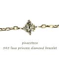 ピナコテーカ 545 四角 スクエア プリンセス ダイヤモンド 華奢ブレスレット 18金,pinacoteca 545 Faux Princess Diamond Bracelet K18