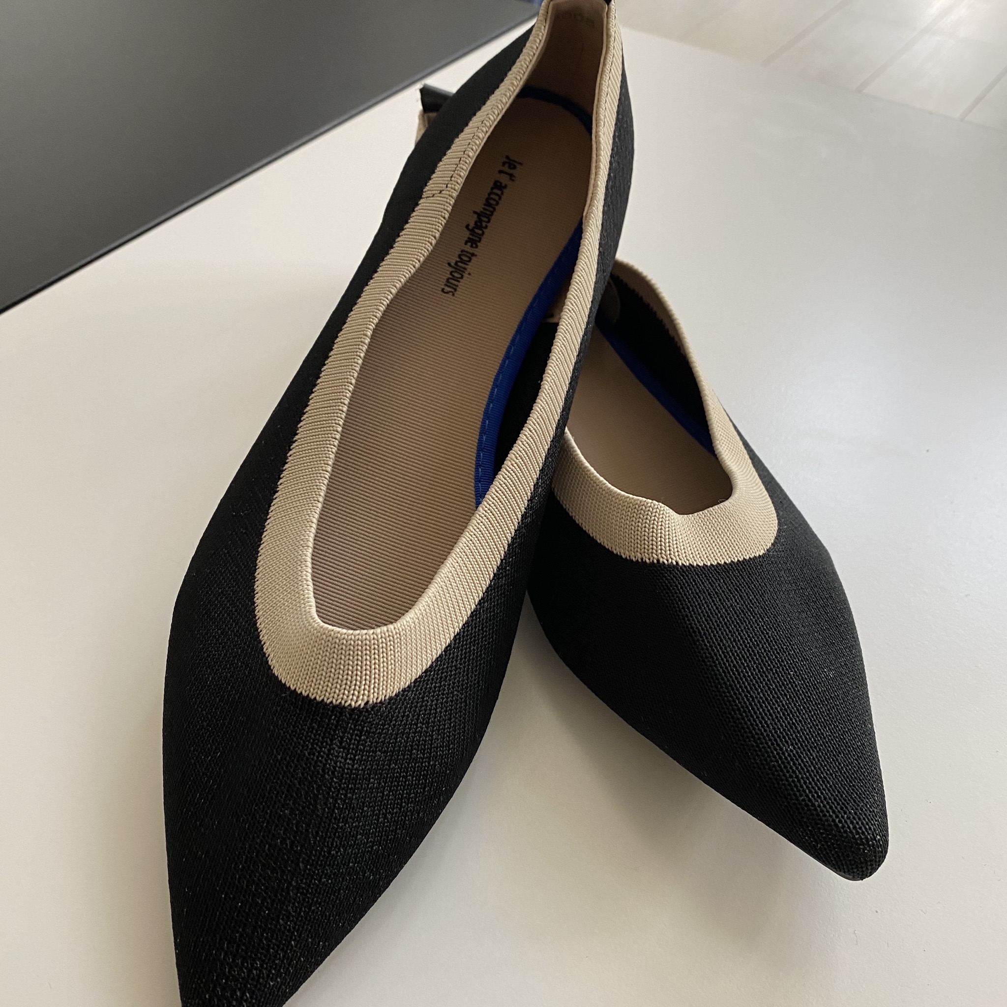 black knitted mixed loafers pumps 23.0cm-25.0cm【海外取寄】