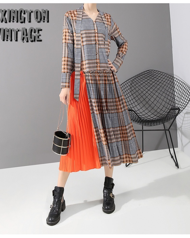 Plaid Printed Bandage Split Pleated Dress【海外取寄】  1D3130