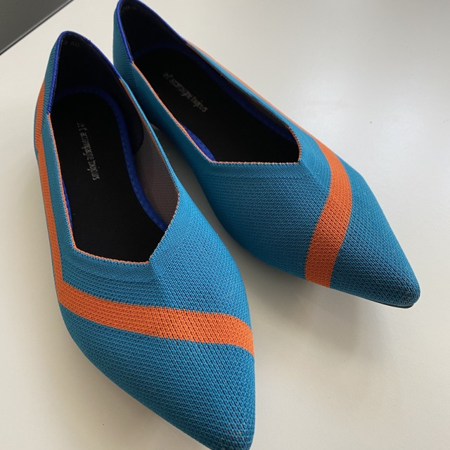 blue knitted mixedl loafers pumps 23.0cm-25.0cm【海外取寄】