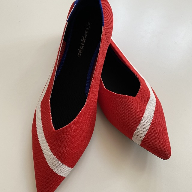 redxwhite knitted mixed loafers pumps 23.0cm-25.0cm【海外取寄】