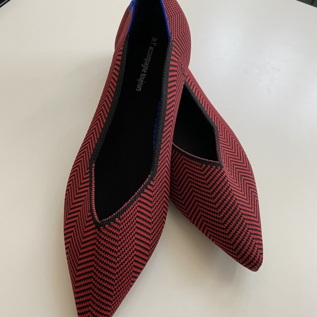 red knitted mixed loafers pumps 23.0cm-25.0cm【海外取寄】