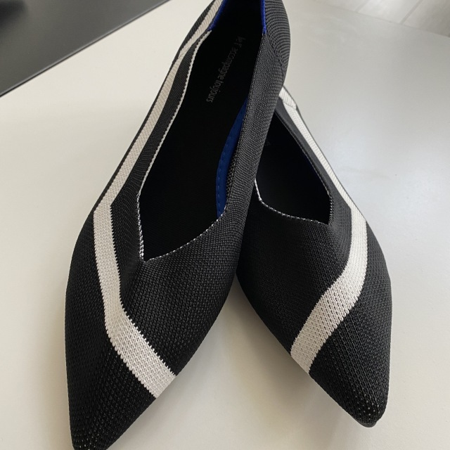 black x white knitted mixed loafers pumps 23.0cm-25.0cm【海外取寄】