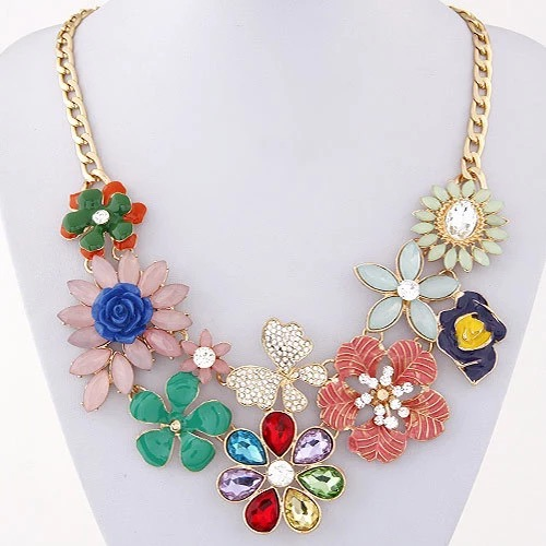 Costume Jewelry Trendy Choker Statement Necklace Enamel Flower Necklaces & Pendants ペンダント  チョーカーネックレス ジュエリー