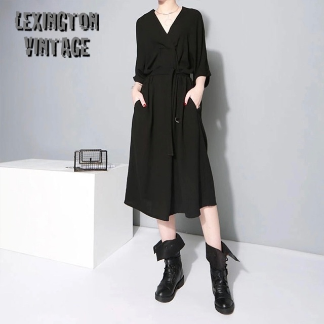 Black Office Lady Stylish Dress V Neck Half Sleeve 【海外取寄】  1347
