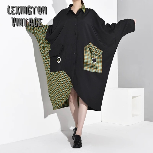 Green Plaid Big Size Shirt Dress【海外取寄】 1B932