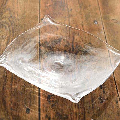 クリアガラスの角皿/小林 亮二
