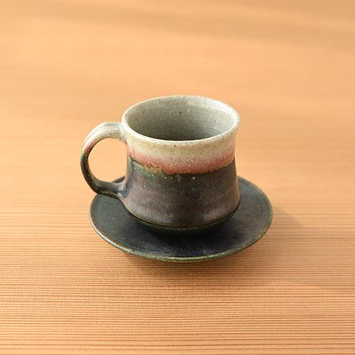 緑紅 デミタスカップ&ソーサー/亀井 紀子(陶工房 もちの木)