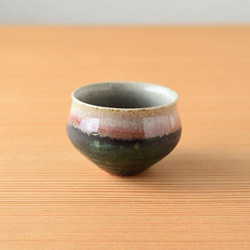 緑紅 豆煎茶碗/亀井 紀子(陶工房 もちの木)