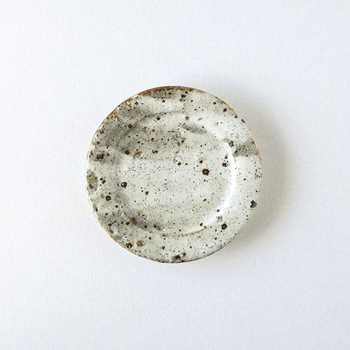 鉄吹粉引き リム3寸皿/亀井 紀子