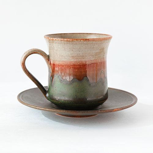 緑紅 珈琲カップ&ソーサー/亀井 紀子(陶工房 もちの木)