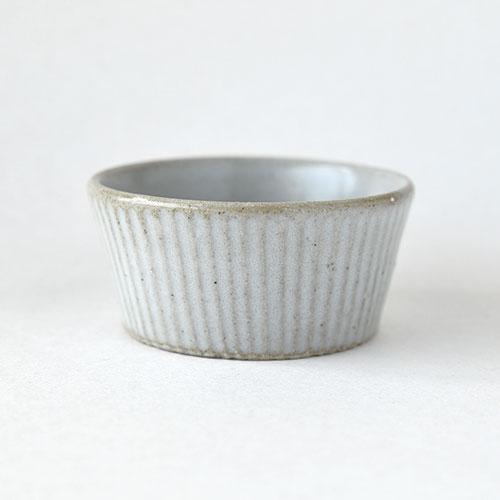 小鉢・浅いタイプ【陶器・しのぎ マットホワイト】/森永 淳俊