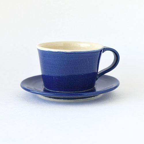 コーヒーカップ&ソーサー【陶器・インディゴブルー】/森永 淳俊