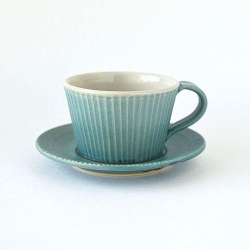 コーヒーカップ&ソーサー【陶器・しのぎ ターコイズ】/森永 淳俊