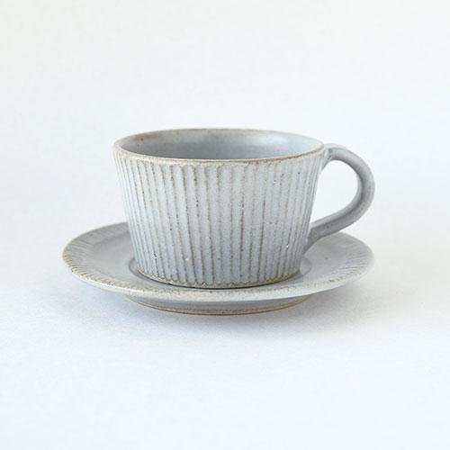 コーヒーカップ&ソーサー(陶器・しのぎ マットホワイト)/森永 淳俊
