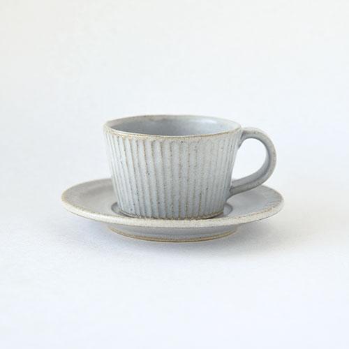 デミカップ&ソーサー(陶器・しのぎ マットホワイト)/森永 淳俊