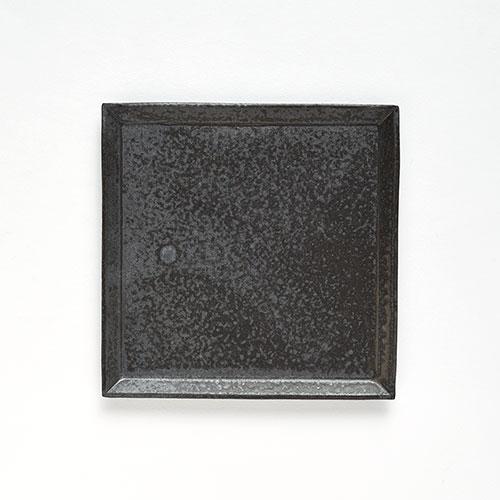 灰釉 四角皿・M【陶器】/十河 隆史(T-POTTERY)
