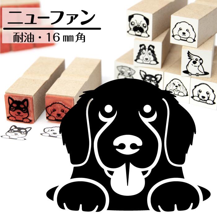 ニューファンドランド イラストゴム印【16mm】犬のイラストはんこ GA-18