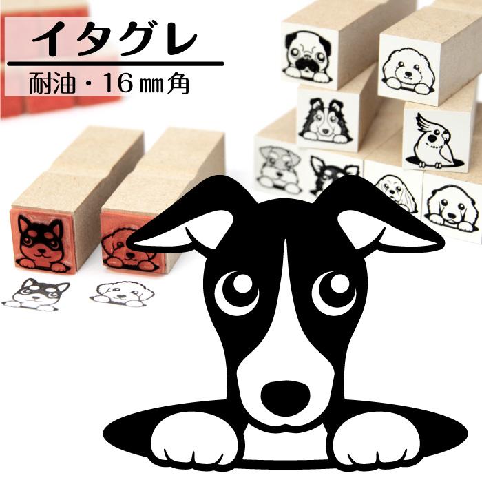 イタリアングレーハウンド イラストゴム印【16mm】犬のイラストはんこ GA-35