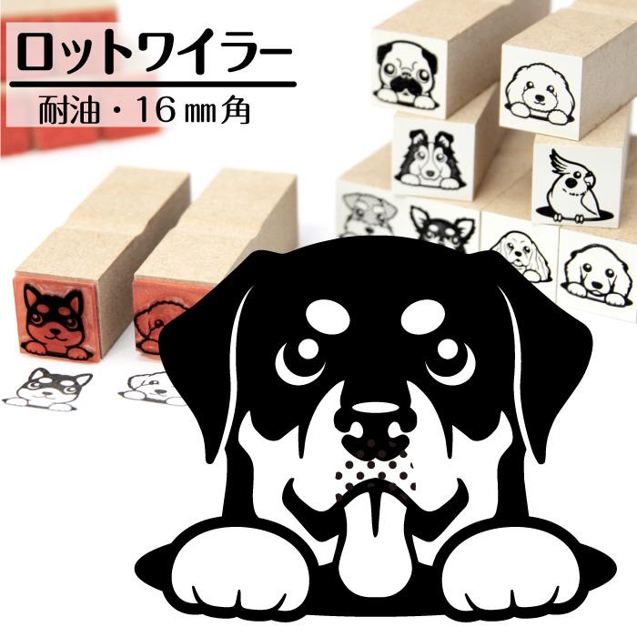 ロットワイラー イラストゴム印【16mm】犬のイラストはんこ GA-38