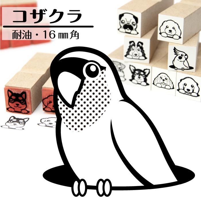 コザクラインコ イラストゴム印【16mm】鳥のイラストはんこ GA-71