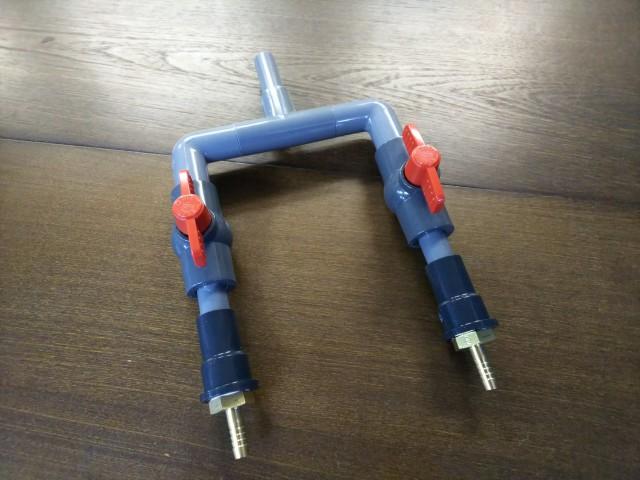 【消費税込】エアー分岐管 2本口 8mmホース用 (エアーリング・直管分散器)