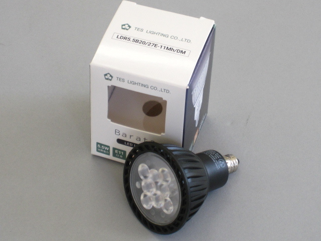 【即納】 TES/テス LED電球 JDR50W相当 調光対応 径50mm E11 色温度2700K 電球色 中角 黒 ☆MR16 100V ダイクロハロゲン電球代替タイプ☆ LDR5.5B20/27E-11Mh/DM