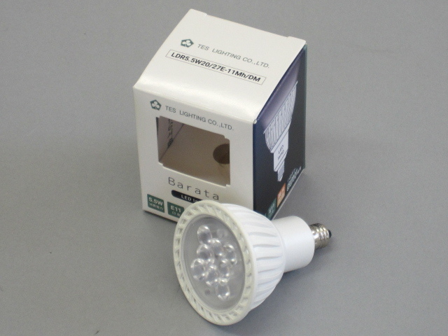 【即納】 TES/テス LED電球 JDR50W相当 調光対応 径50mm E11 色温度2700K 電球色 中角 白 ☆MR16 100V ダイクロハロゲン電球代替タイプ☆ LDR5.5W20/27E-11Mh/DM