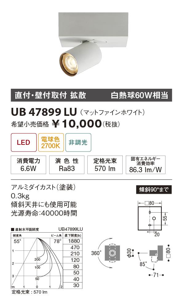 【納期3~4日】 UNITY/ユニティ LED住宅照明 スポットライト 白熱球60W相当 拡散 電球色 ランプ一体型 直付式 ☆Home Eco Spot Light☆ UB47899LU