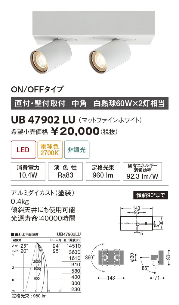 【納期3~4日】 UNITY/ユニティ LED住宅照明 スポットライト 白熱球60W×2灯相当 中角 電球色 ランプ一体型 直付式(壁取付可) ☆Home Eco Spot Light☆ UB47902LU