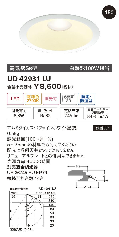 【納期3~4日】 UNITY/ユニティ LED住宅照明 ダウンライト 白熱球100W相当 電球色 ランプ一体型 調光可 ※調光器別途 ☆Home Eco Down Light☆ UD42931LU