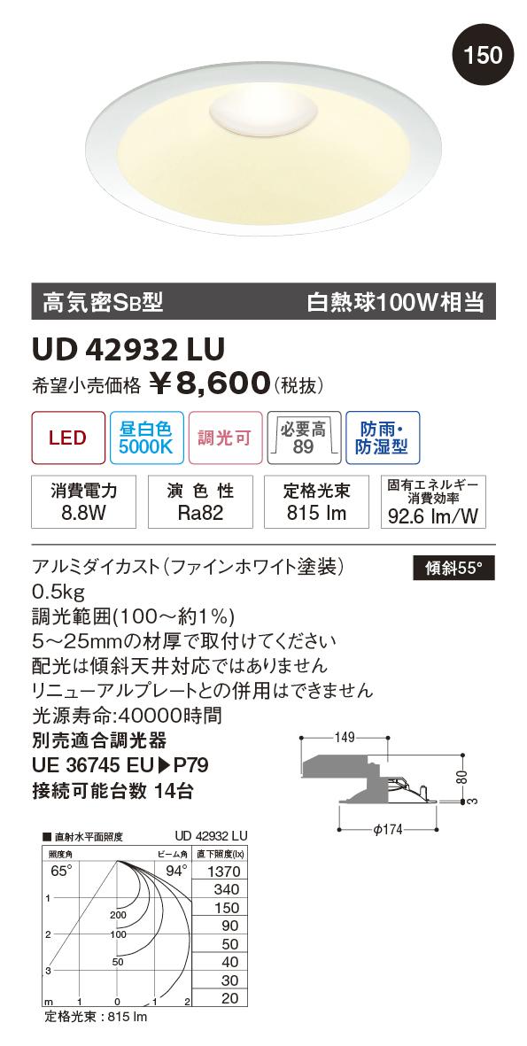 【納期3~4日】 UNITY/ユニティ LED住宅照明 ダウンライト 白熱球100W相当 昼白色 ランプ一体型 調光可 ※調光器別途 ☆Home Eco Down Light☆ UD42932LU